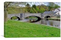 The famour three arched bridge at Llanfair TH, Canvas Print