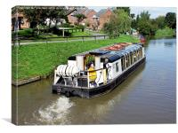 A typical canal 'Narrow boat', Canvas Print