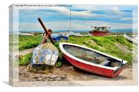 Boats lined up on Heswall Beach, Canvas Print