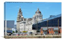 Liverpool's Iconic 'Three Graces' viewed from Alb, Canvas Print