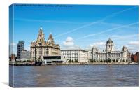 Liverpool's Iconic 'Three Graces' viewed from the , Canvas Print