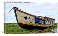 A Colourful boat lies on Heswall Beach, Canvas Print