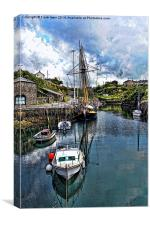 The Inner Amlwych Harbour – painted effect, Canvas Print
