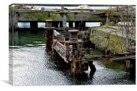 Broken landing stage in Birkenhead docks, Canvas Print