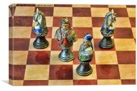 A Few Chess Pieces on a chess board, Canvas Print