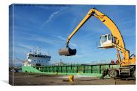 MV Arklow Rebel offloading cargo in Birkenhead Do, Canvas Print
