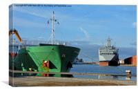 MV Arklow Rebel offloading in Birkenhead Docks, Canvas Print