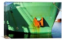 Close up of the bows of MV Arklow Rebel , Canvas Print