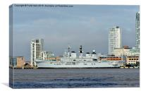 HMS Illustrious berthed in Liverpool, Canvas Print