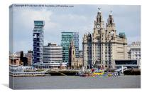 Liverpool waterfront and M.V. Snowdrop, Canvas Print