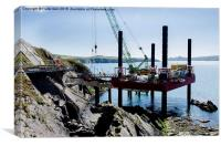 St Justinians new lifeboat station being built, Canvas Print