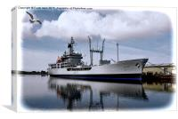 RFA Black Rover berthed in Birkenhead docks, Canvas Print
