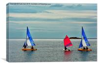 Three yachts manoeuvre off Hilbre Island, Canvas Print
