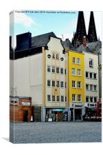 Typical Cologne street picture, Canvas Print