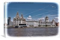 "Liverpool's Iconic ""Three Graces"", Canvas Print"