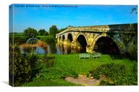 Atcham Bridge in Mytton and Mermaid hotel grounds, Canvas Print