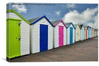Colourful beach huts at paignton sea front, Canvas Print
