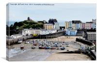 View of the magnificent Tenby Harbour with the tid, Canvas Print