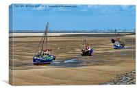 Three yachts rest aground at Hoylake, Canvas Print