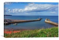Whitby Harbour and its 2 piers, Canvas Print