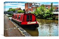 Canal boat on Shropshire Union canal at Chester, Canvas Print