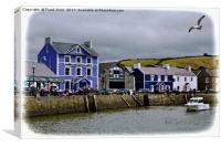 Aberaeron Harbour (Oil painting effect), Canvas Print