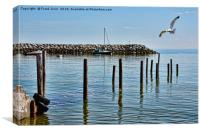 The submerged jetty at Rhos-on-Sea. North Wales., Canvas Print