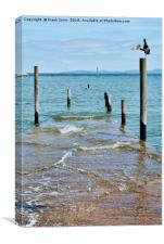 Rhos-on-Sea - fishing boat jetty, submerged, Canvas Print
