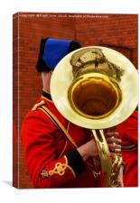 Military Bandsman marching through Birkenhead, Canvas Print
