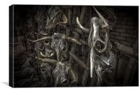 Cattle skulls on display in store, Santa Fe, Canvas Print