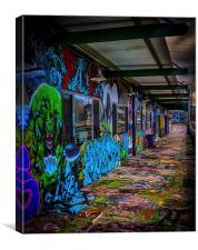 Colourful, graffiti-decorated building, Canvas Print
