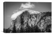 Half Dome Topped with Clouds, Canvas Print