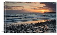 Sunset at Newgale, Canvas Print