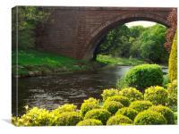 Bushes , Bridge and River, Canvas Print