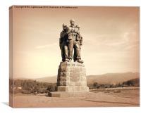 Commando Monument in sepia, Canvas Print