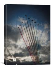 Red Arrows arrive at Prestwick, Canvas Print