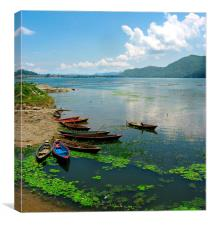 Fishing Boats in Nepal, Canvas Print