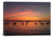 Boats at Sunset, Canvas Print