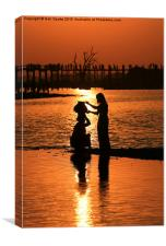 Collecting water at sunset, Canvas Print