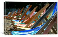 Deckchairs on the beach at Beer in Devon, Canvas Print