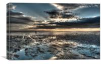 Dusk on the beach at St Annes-on-Sea, Canvas Print