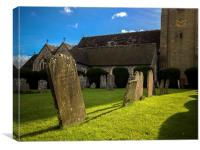 Gravestones in Churchyard, Canvas Print