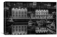 Ramsgate Inner Marina On A Still Dark Night, Canvas Print