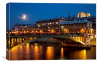 Moon over the Seine, Canvas Print