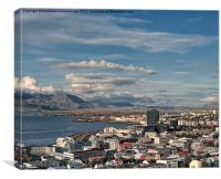 Aerial view of Reykjavik Iceland, Canvas Print