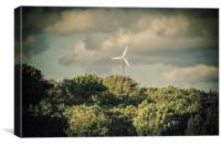 Green energy funky wind turbine Cape Cod, Canvas Print