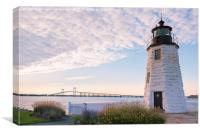 Goat Island lighthouse and bridge, Canvas Print