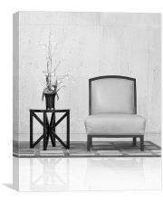 chair table and plant, Canvas Print