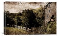 pastoral  with old mill and horses, Canvas Print