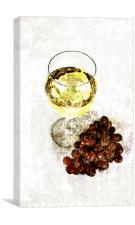 white wine glass with grapes, Canvas Print